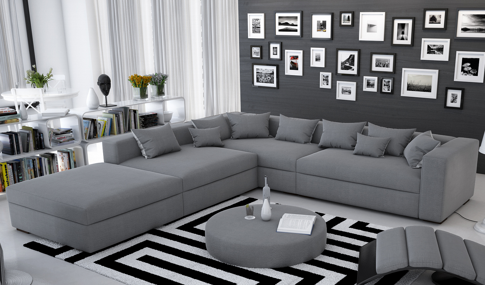 sam ecksofa grau valdivia polsterecke 330 x 320 cm mit hocker. Black Bedroom Furniture Sets. Home Design Ideas