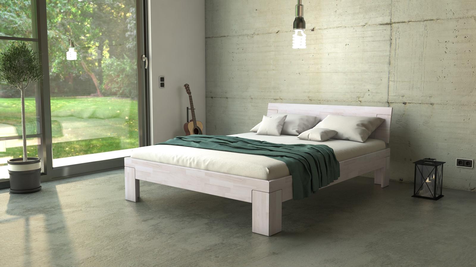 sam massivholzbett doppelbett buche wei lasiert 140 x. Black Bedroom Furniture Sets. Home Design Ideas