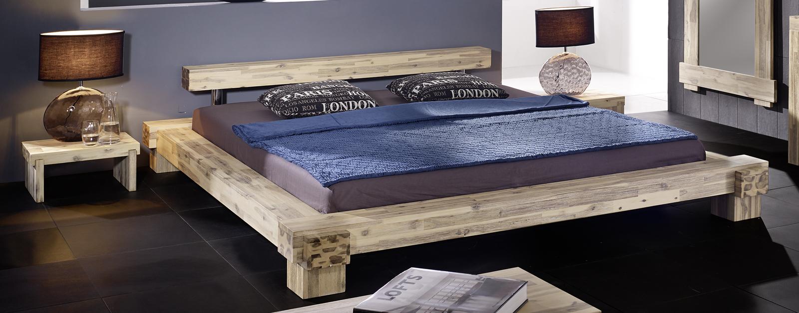 Holzbett massiv 180x200  SAM® Massives Holzbett Akazie weiß lasiert 180 x 200 cm Lolita
