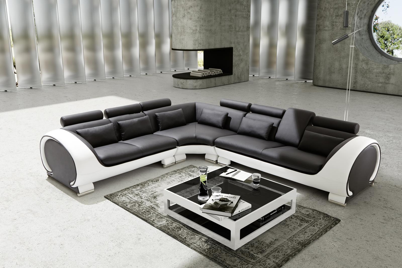 sam ecksofa schwarz wei vigo combi 4 couch 266 x 303 cm auf lager - Schwarz Wei Sofa