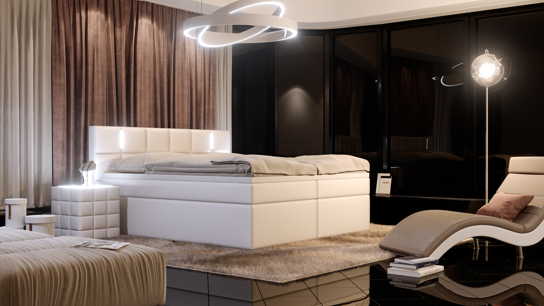 sam boxspringbett mit led hotelbett 180 x 200 cm wei. Black Bedroom Furniture Sets. Home Design Ideas