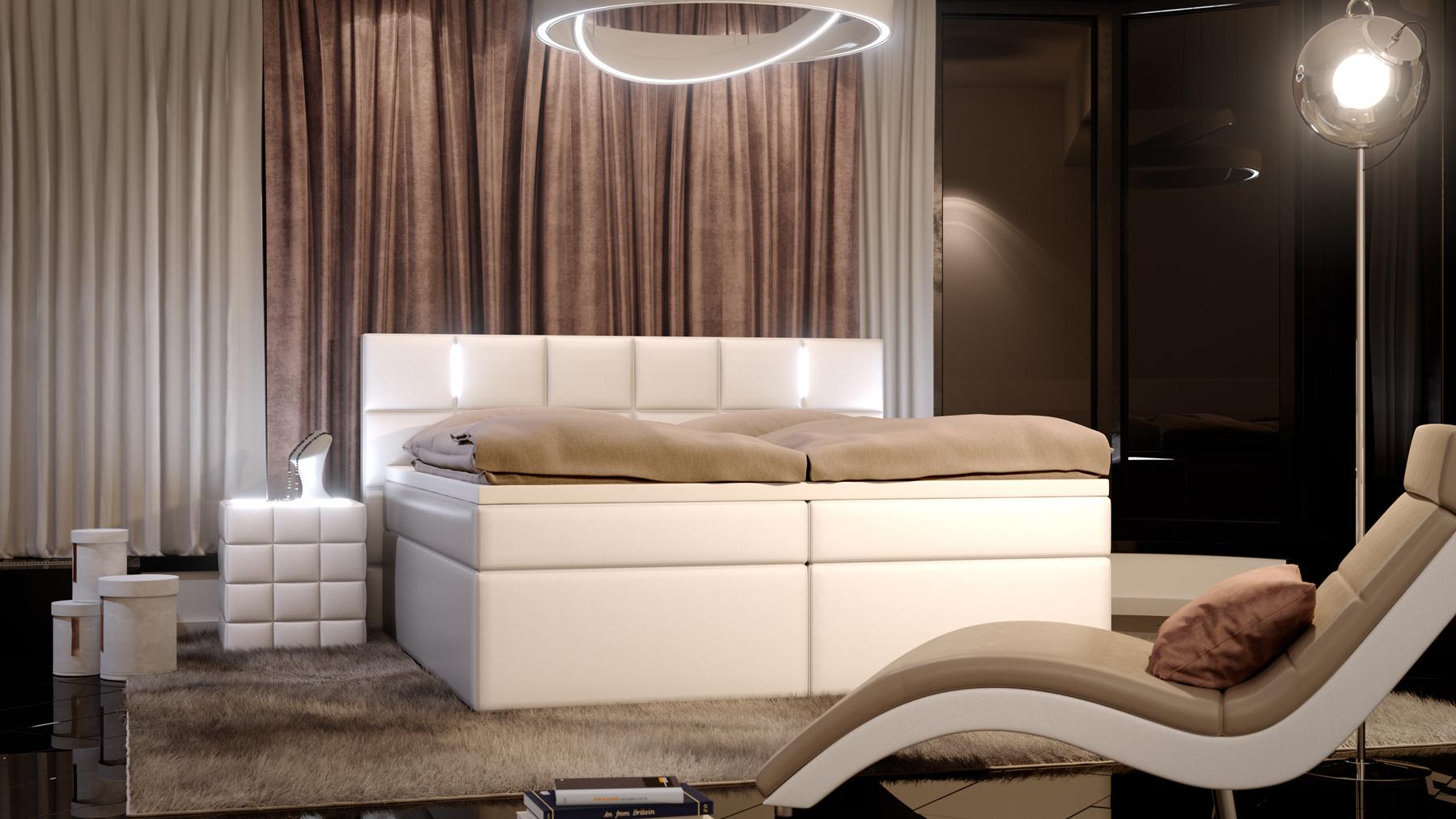 sam boxspringbett mit led hotelbett 180 x 200 cm wei salerno demn chst. Black Bedroom Furniture Sets. Home Design Ideas