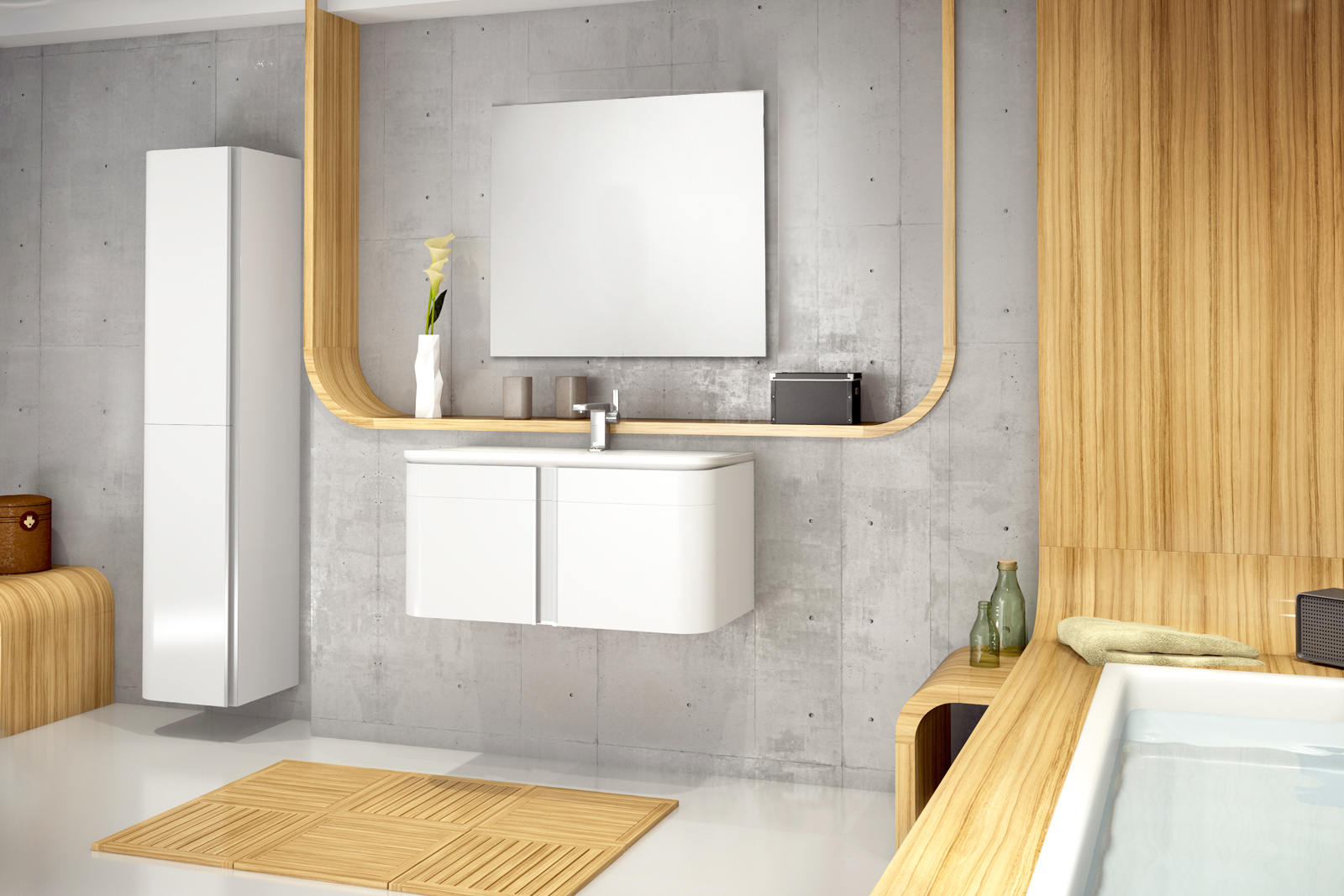 SAM® Badmöbel Set 3tlg Waschtisch 80 cm Hochglanz weiß FENIKS