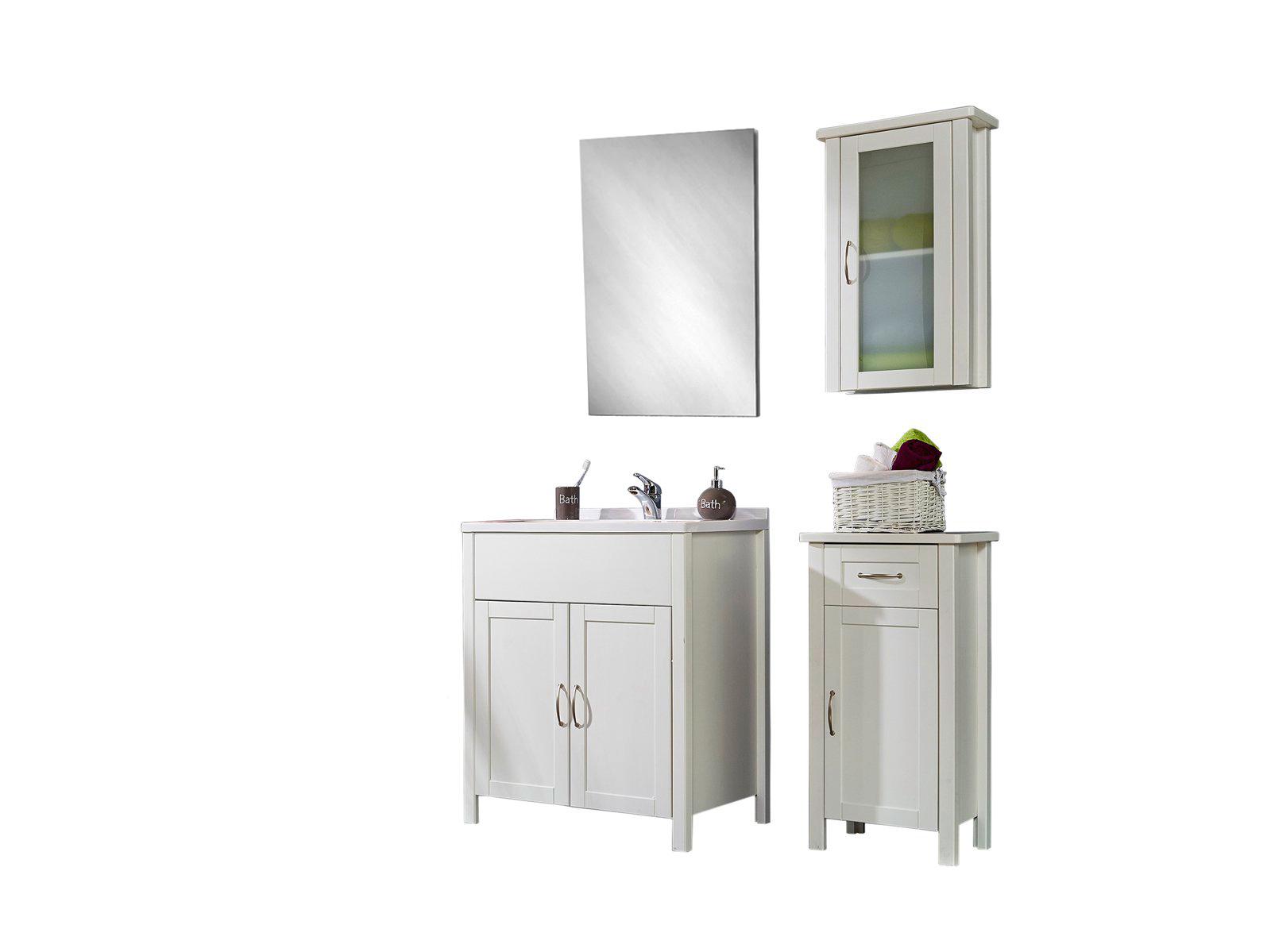 SAM® Badmöbel Set 4tlg Waschtisch 70 cm Kiefer weiß VENEDIG hoch