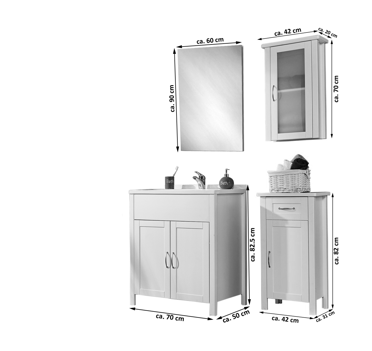 sam badm bel set 4tlg waschtisch 70 cm kiefer wei venedig hoch. Black Bedroom Furniture Sets. Home Design Ideas