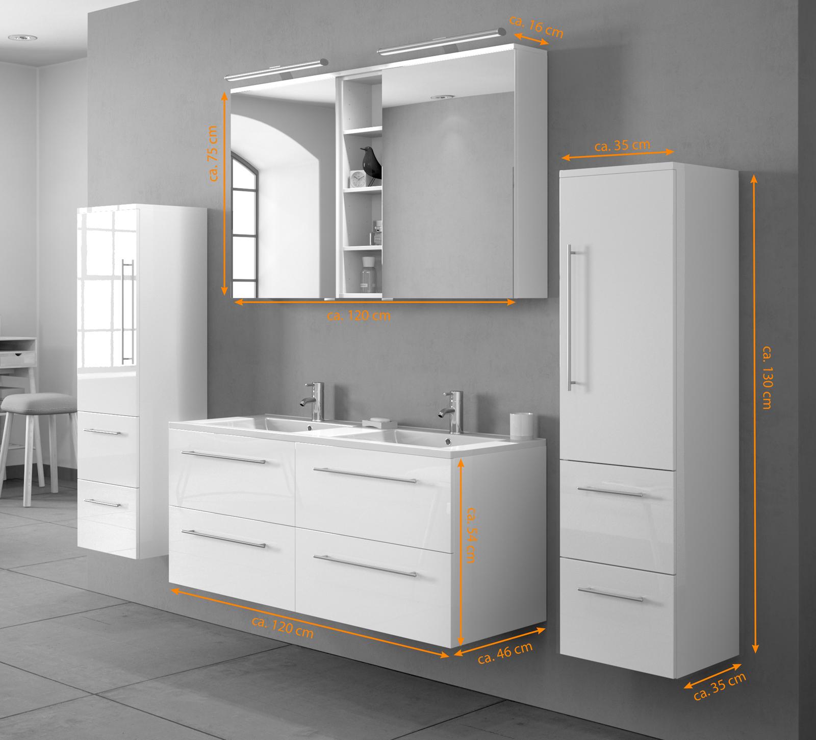 SAM® Badmöbel Set 4tlg Doppelwaschtisch 120 cm Hochglanz weiss VILLA