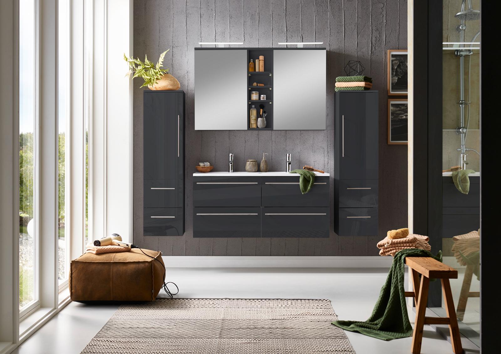 badmobel schwarz, sam® badmöbel set 4tlg doppelwaschtisch 120cm hochglanz schwarz, Design ideen