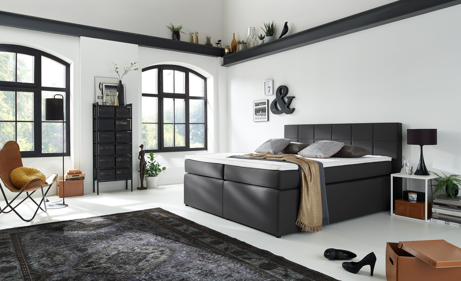 sam boxspringbett hotelbett 180 x 200 cm stoffbezug grau sassari demn chst. Black Bedroom Furniture Sets. Home Design Ideas
