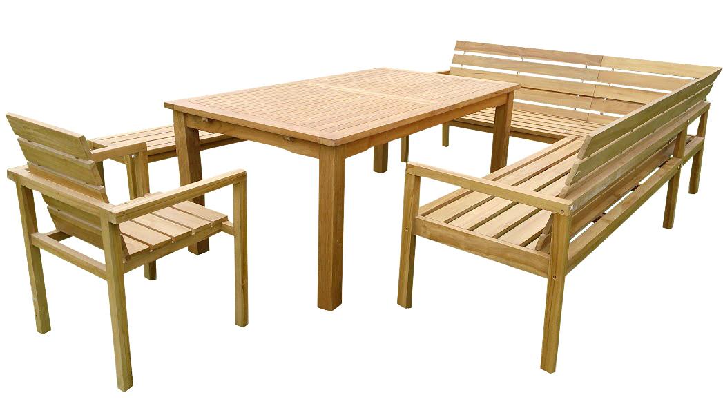 sam® teak eckbank gartenmöbel set 4tlg tisch 180 - 230 cm michel, Gartenmöbel