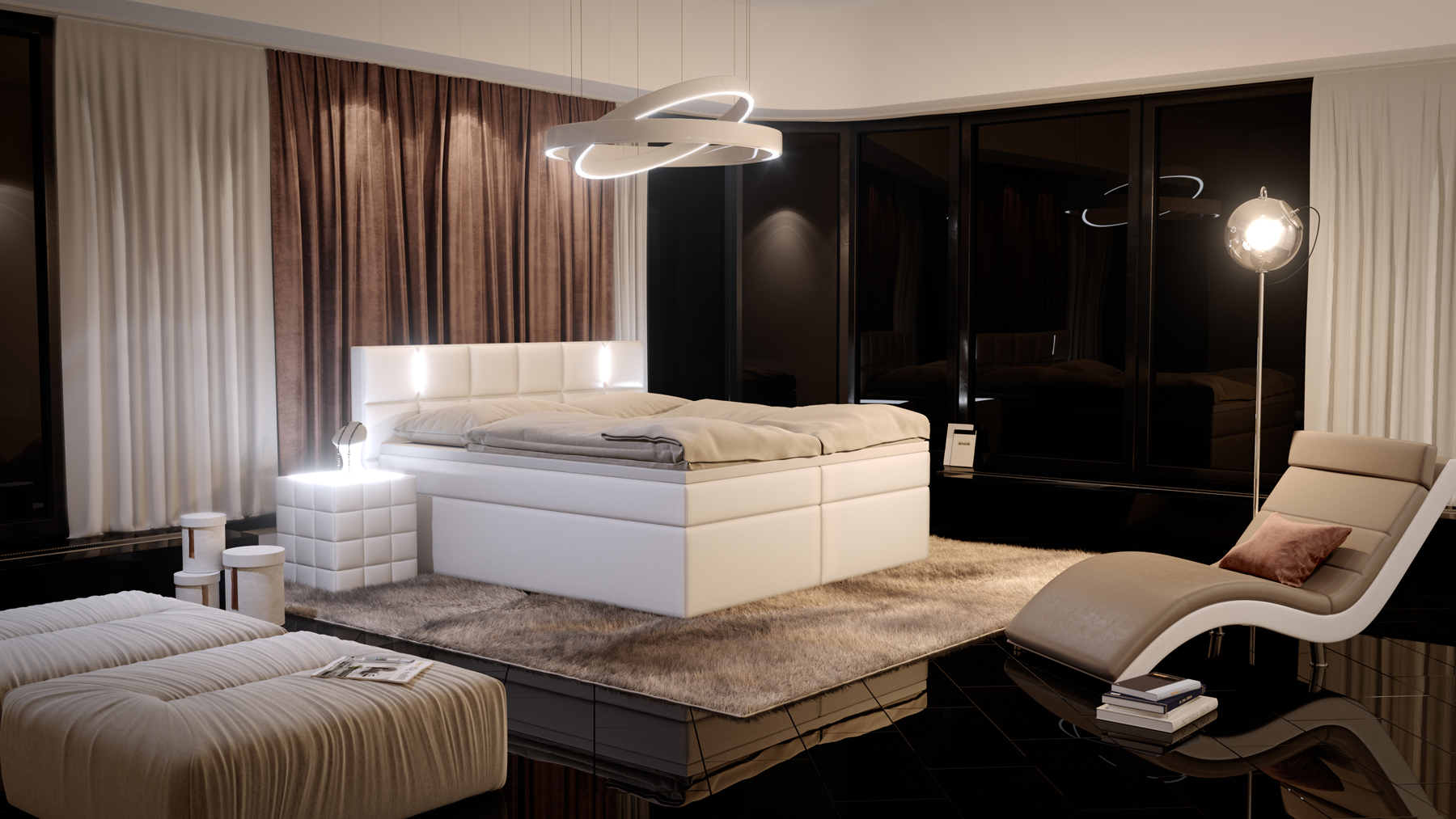 sam boxspringbett mit led hotelbett 200 x 200 cm wei salerno. Black Bedroom Furniture Sets. Home Design Ideas