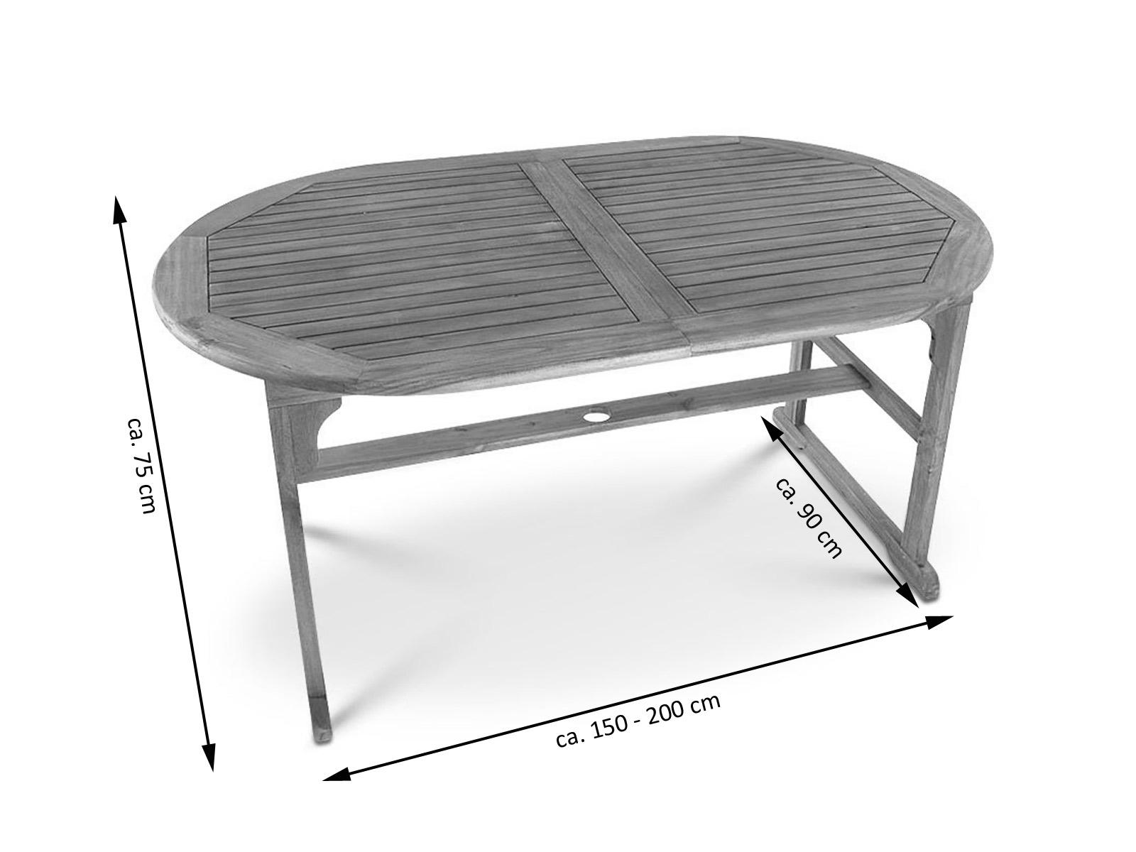 sam gartentisch ausziehtisch akazie 150 200 cm oval french demn chst. Black Bedroom Furniture Sets. Home Design Ideas