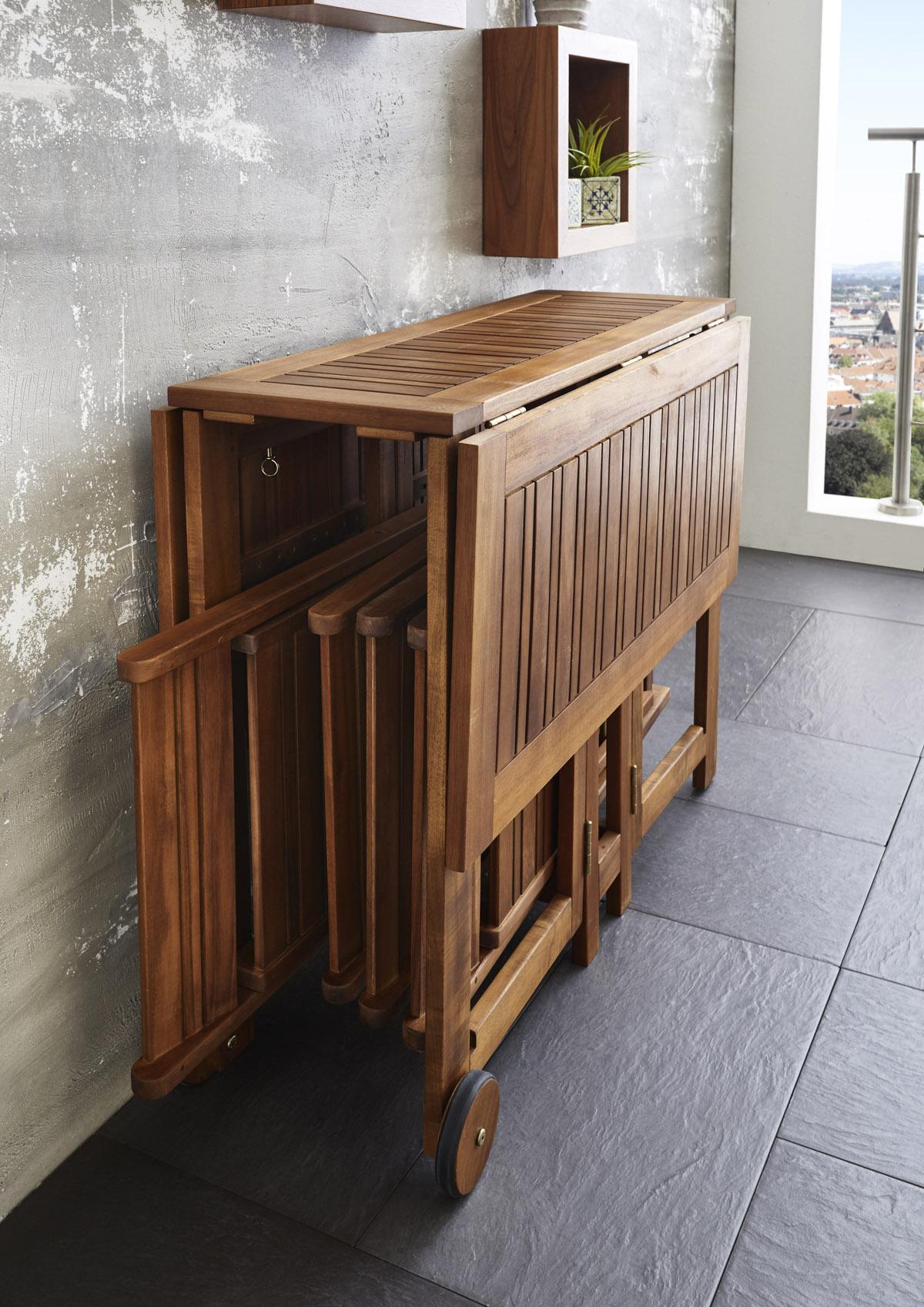 SAM® Gartenmöbel Set Holz Gartengruppe Akazie 5tlg Klapptisch 110