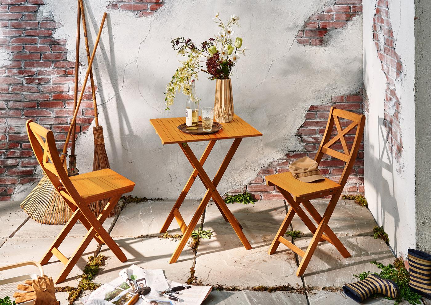 Sam Balkonmöbel Set Akazie 3tlg Balkontisch 60 X 60 Cm Xanten