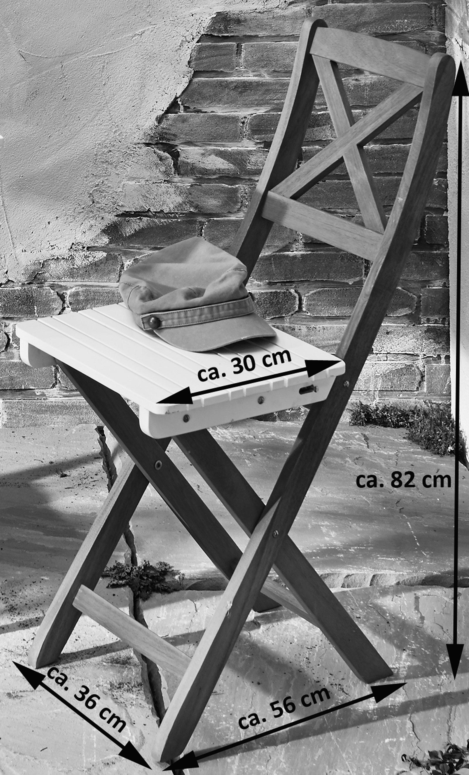 SAM® Balkonmöbel Akazie 3tlg Klapptisch 60 x 60 cm weiß XANTEN