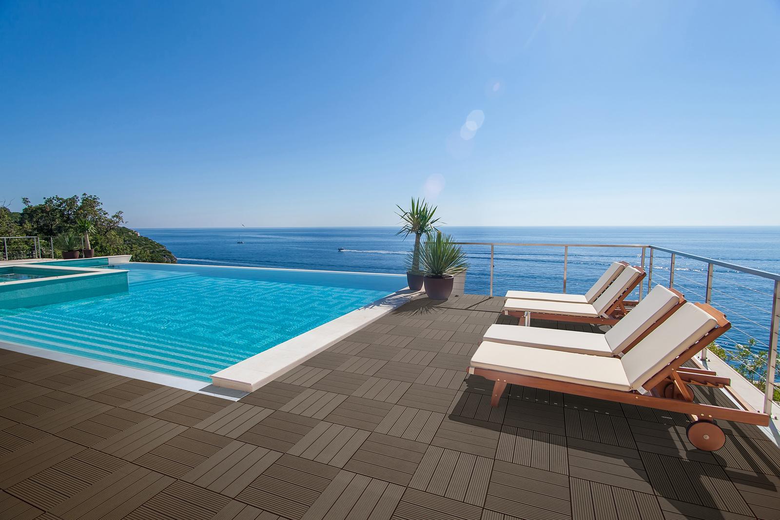 sam terrassenfliesen balkonfliesen wpc 11 st ck 1 m braun. Black Bedroom Furniture Sets. Home Design Ideas