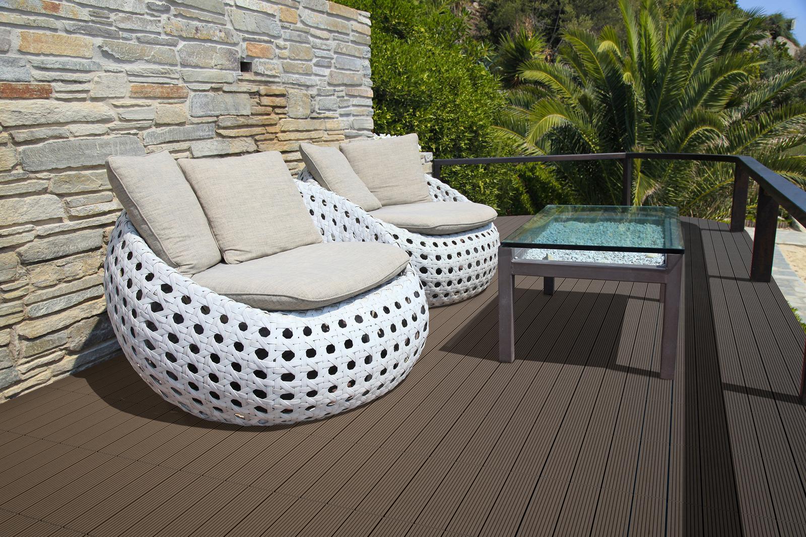 sam® terrassenfliesen balkonfliesen wpc 22 stück = 2 m ² braun