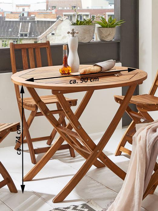 sam balkonm bel akazie 5tlg klapptisch rund 90 cm justin. Black Bedroom Furniture Sets. Home Design Ideas
