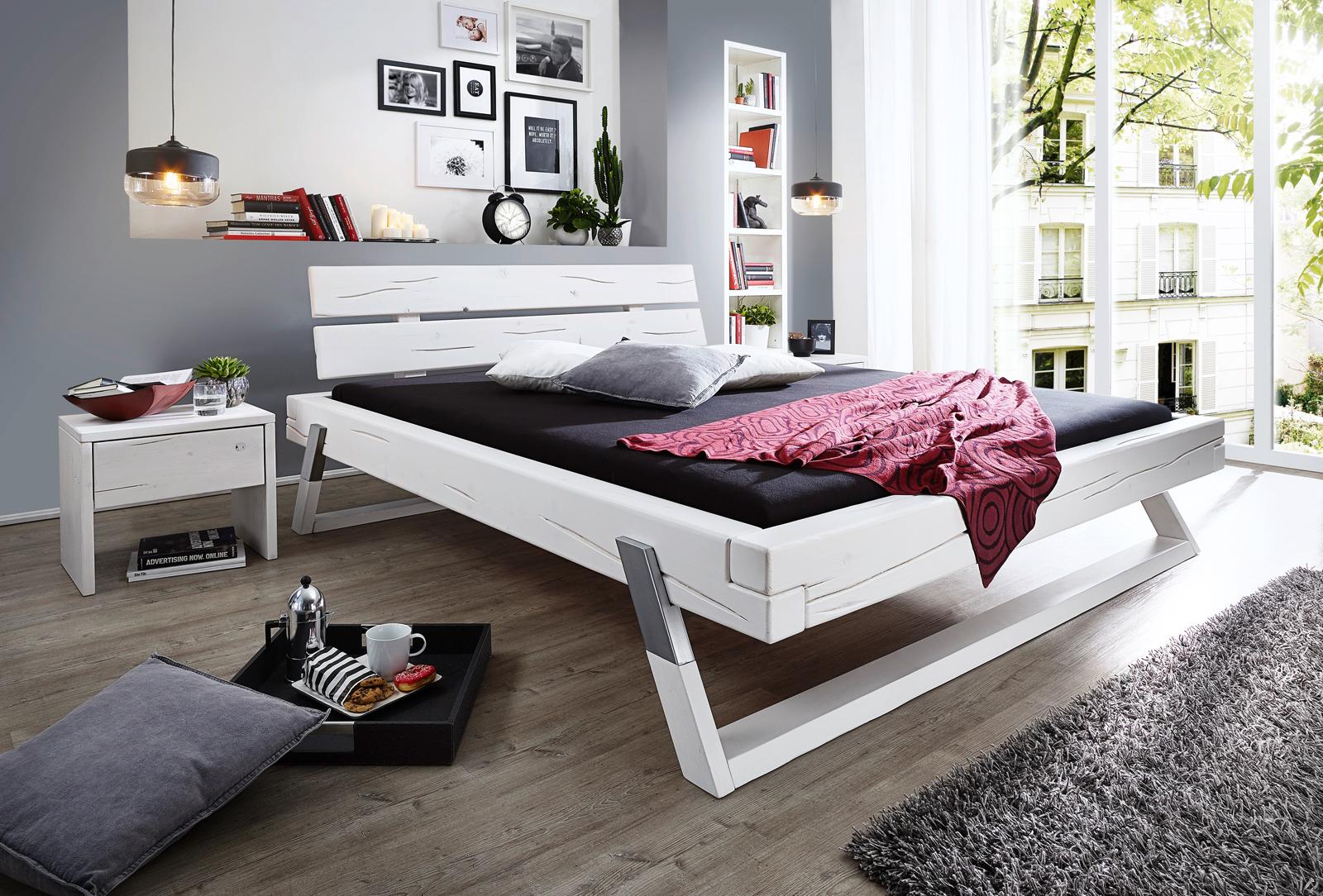 Balkenbett fichte  SAM® Balkenbett Massivholzbett Fichte weiß 180 x 200 cm Boris