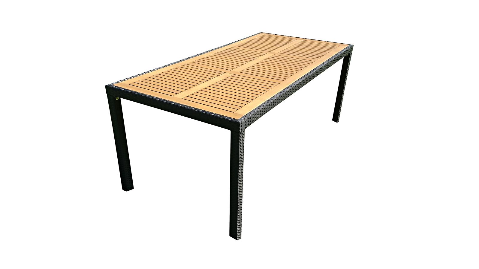 sam gartentisch polyrattan 190 cm aluminium gestell finn. Black Bedroom Furniture Sets. Home Design Ideas