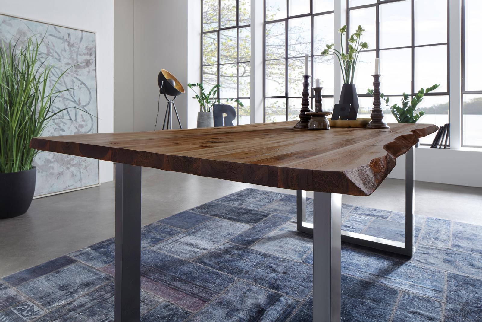 sam esstisch baumkante akazie nussbaum 200 x 100 cm silber noah demn chst. Black Bedroom Furniture Sets. Home Design Ideas