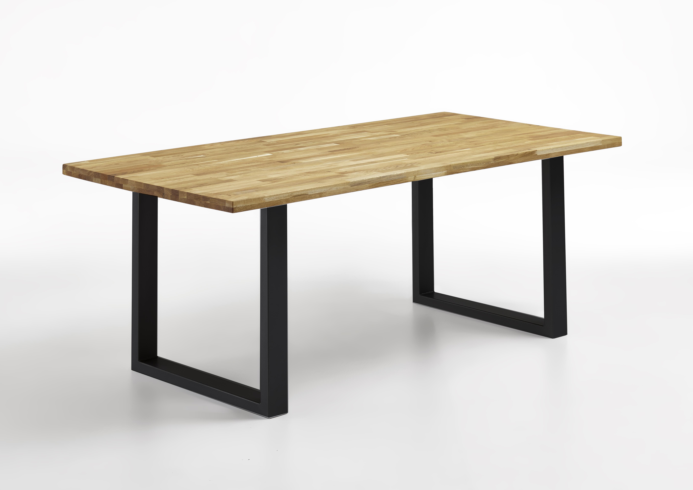 sam esstisch 180x90 cm massiv eiche gestell in schwarz seattle. Black Bedroom Furniture Sets. Home Design Ideas