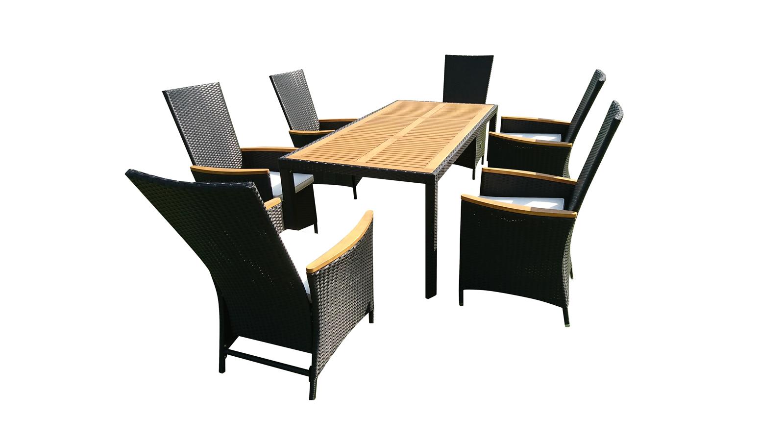 sam gartenm bel set 13tlg polyrattan aluminium akazie fsc. Black Bedroom Furniture Sets. Home Design Ideas