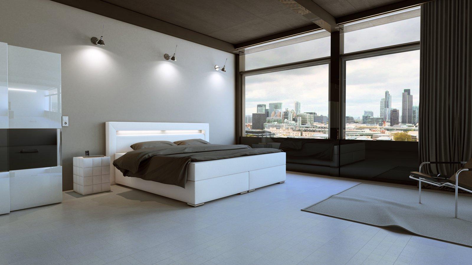 sam boxspringbett hotelbett beleuchtung 180 x 200 cm wei arizona demn chst. Black Bedroom Furniture Sets. Home Design Ideas