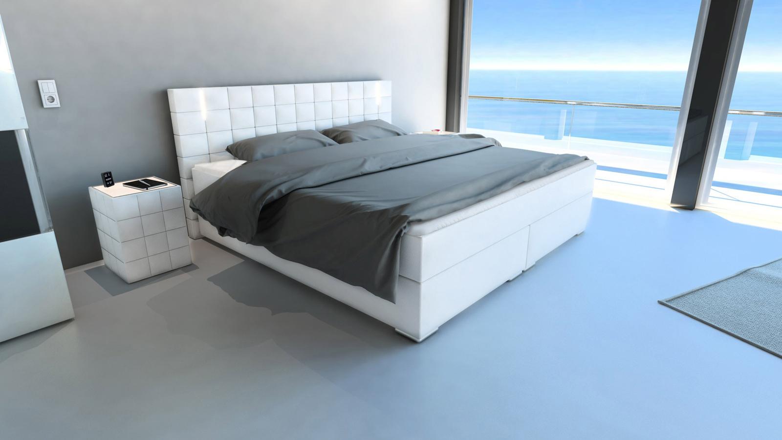 sam boxspringbett hotelbett led beleuchtung 180x200 cm wei boston demn chst. Black Bedroom Furniture Sets. Home Design Ideas