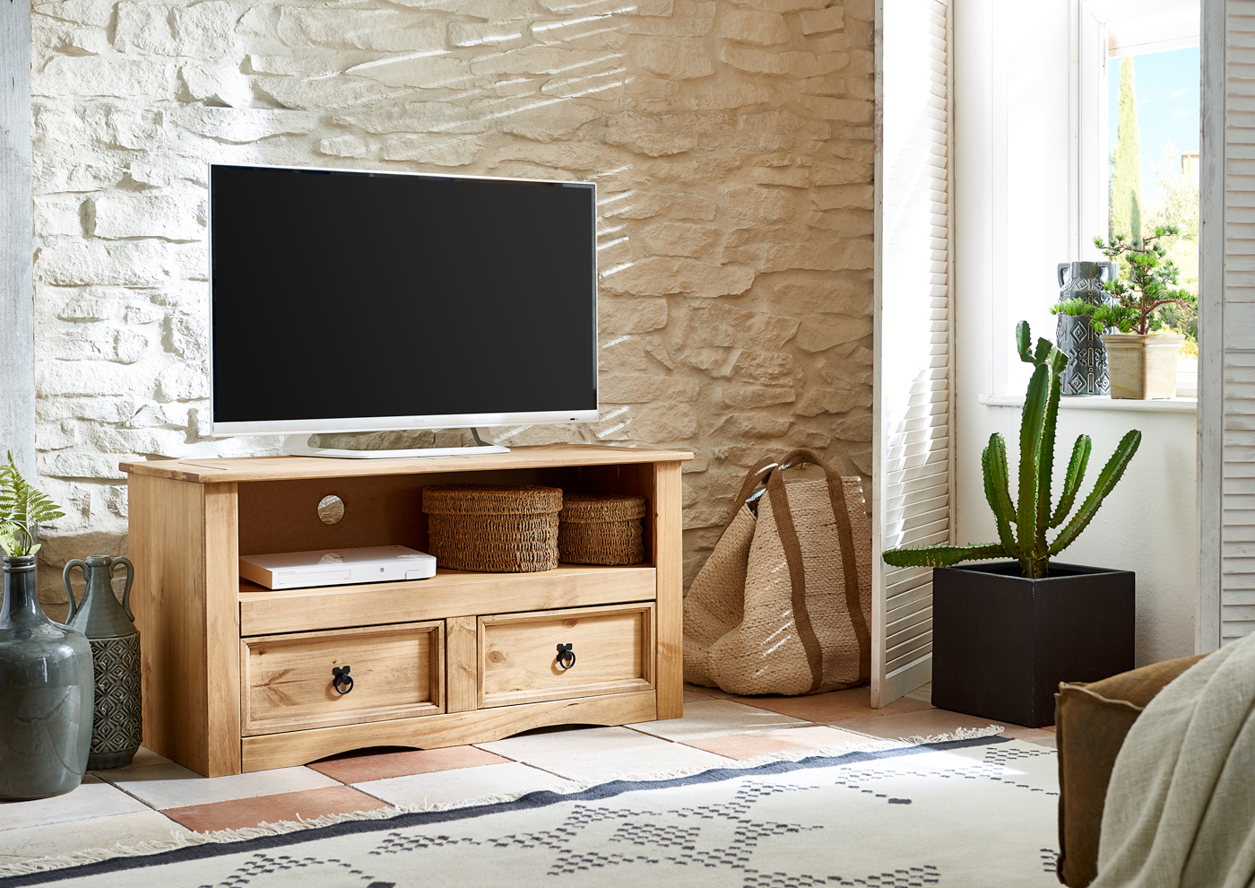 sam mexico tv board lowboard 108 cm massivholz kiefer arizona. Black Bedroom Furniture Sets. Home Design Ideas