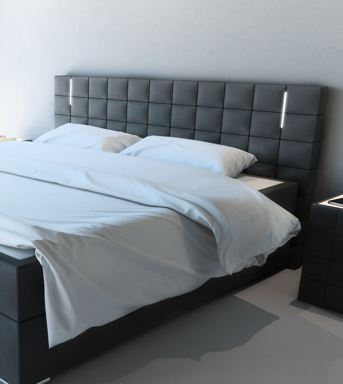 sam boxspringbett hotelbett stoff grau led 180 x 200 cm. Black Bedroom Furniture Sets. Home Design Ideas