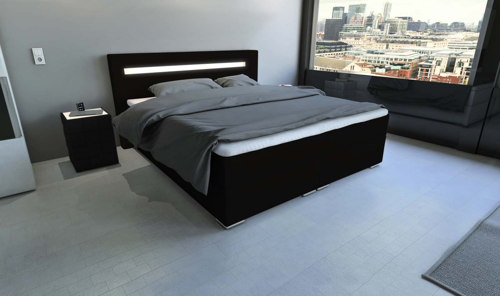 SAM® Boxspringbett Hotelbett LED 180 X 200 Cm Schwarz Arizona