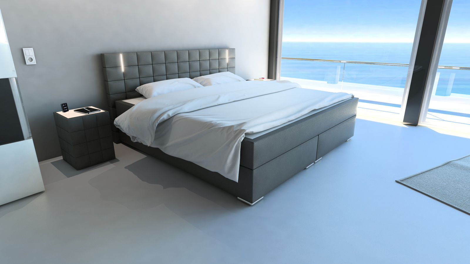sam boxspringbett hotelbett led beleuchtung 200x200 cm grau boston. Black Bedroom Furniture Sets. Home Design Ideas