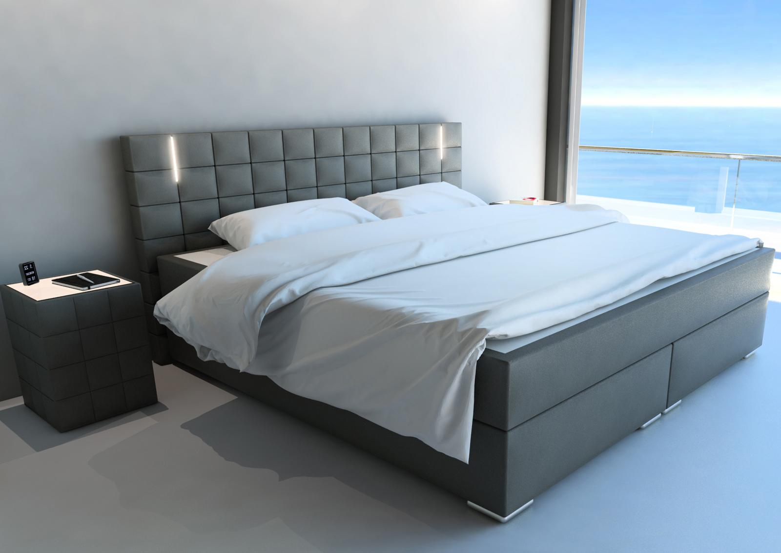 sam boxspringbett hotelbett led beleuchtung 200x200 cm grau boston. Black Bedroom Furniture Sets. Home Design Ideas