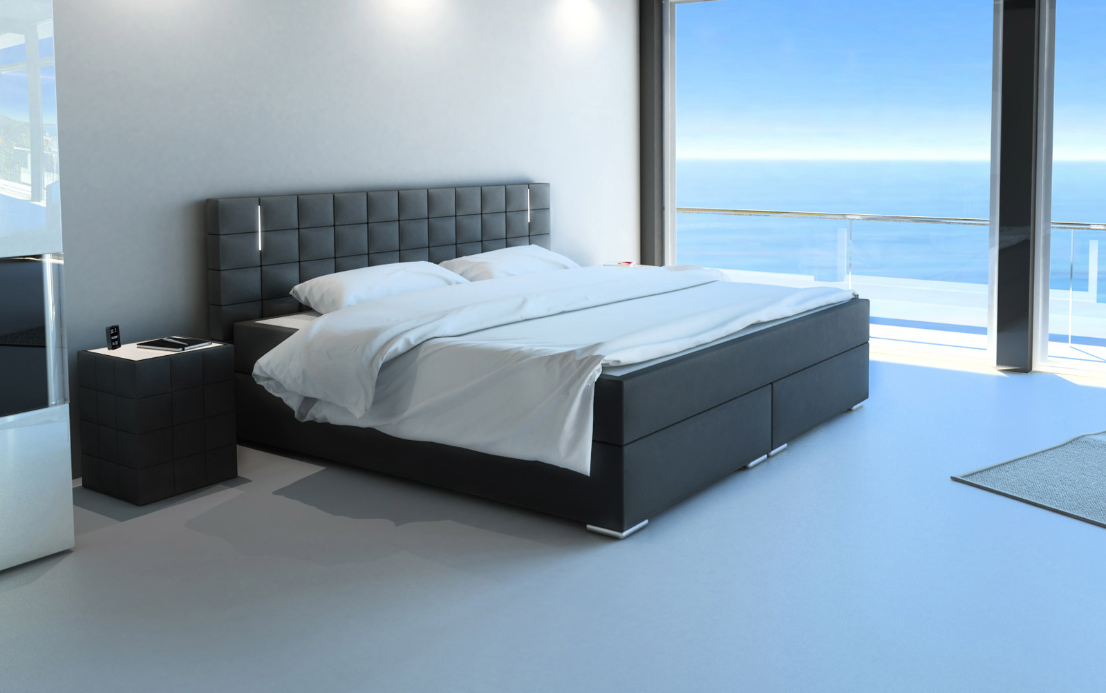 sam boxspringbett hotelbett stoff grau led 200 x 200 cm boston. Black Bedroom Furniture Sets. Home Design Ideas