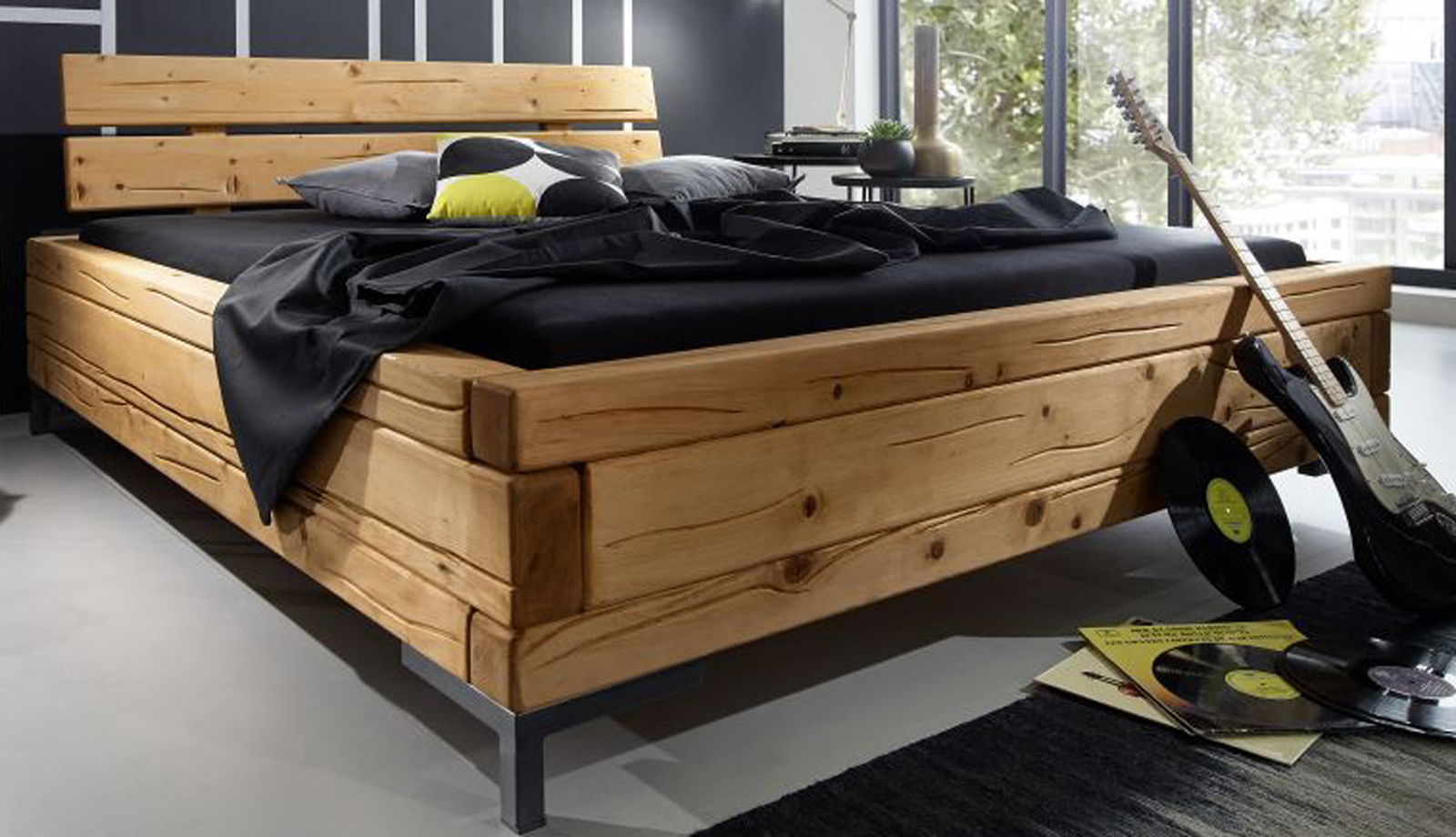 sam balkenbett holzbett 180 x 200 cm fichte eichefarben svantje demn chst. Black Bedroom Furniture Sets. Home Design Ideas
