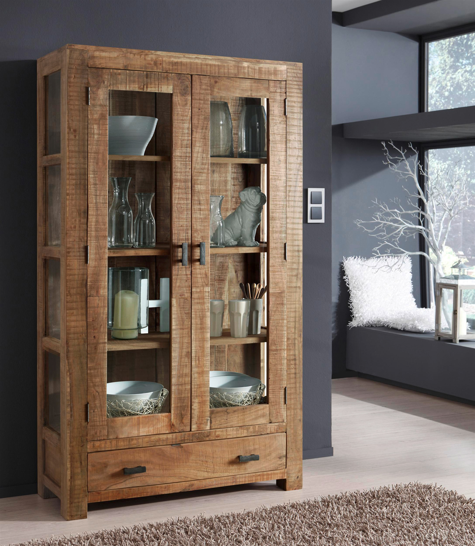 sale vitrine glasvitrine aus akazie 175 x 100 cm in natur christel. Black Bedroom Furniture Sets. Home Design Ideas