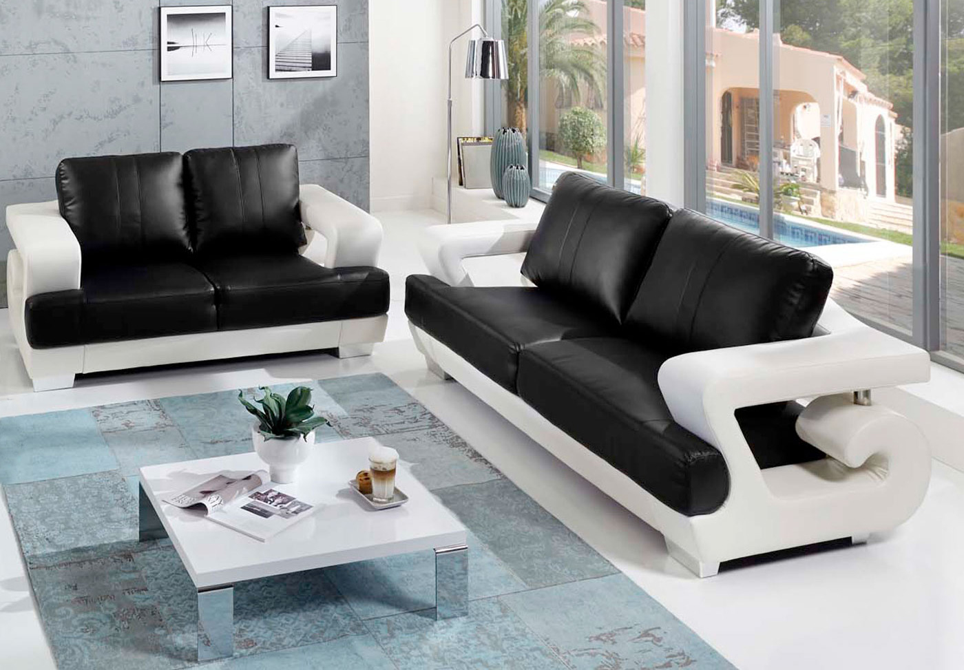 sale sofa couchgarnitur 2tlg wei schwarz antonio. Black Bedroom Furniture Sets. Home Design Ideas