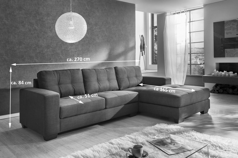 sam sofa ecksofa braun stoff polsterecke 270 x 165 cm aviano. Black Bedroom Furniture Sets. Home Design Ideas