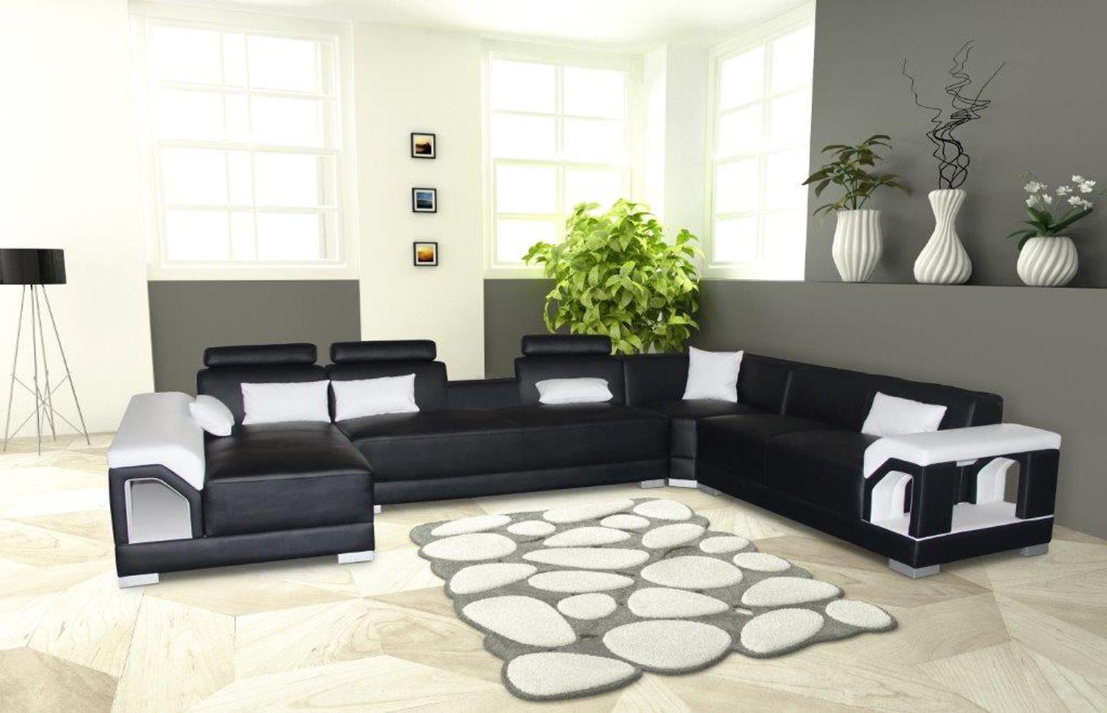 Sale Sofa Wohnlandschaft Eckcouch Schwarz Weiss Rechts Zippora
