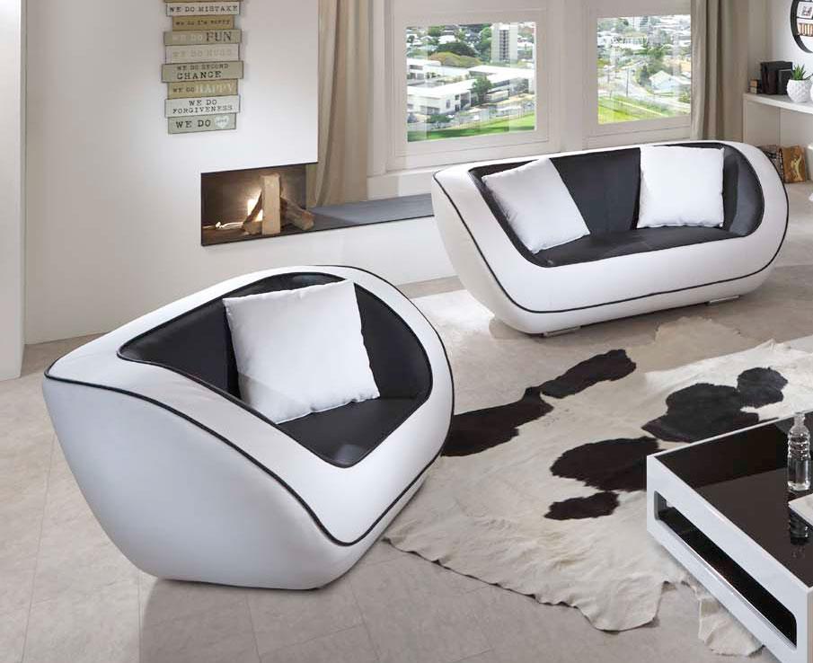 Sale Sofa Sessel Couchgarnitur 2tlg In Schwarz Weiß Navarra