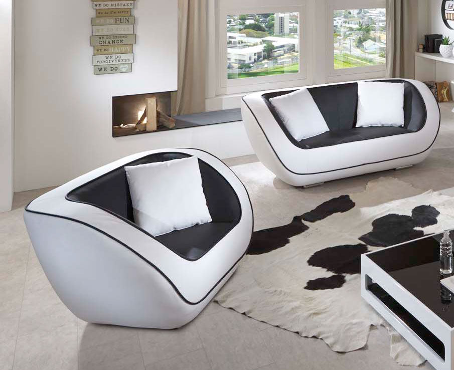 sale sofa sessel couchgarnitur 2tlg in schwarz wei navarra. Black Bedroom Furniture Sets. Home Design Ideas