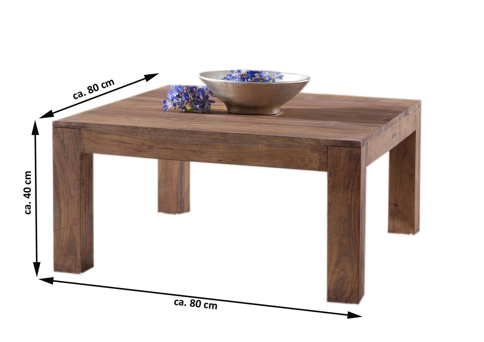 SALE Tisch Couchtisch Akazie Massivholz 80 X 40 Cm SABER 6608 Auf Lager