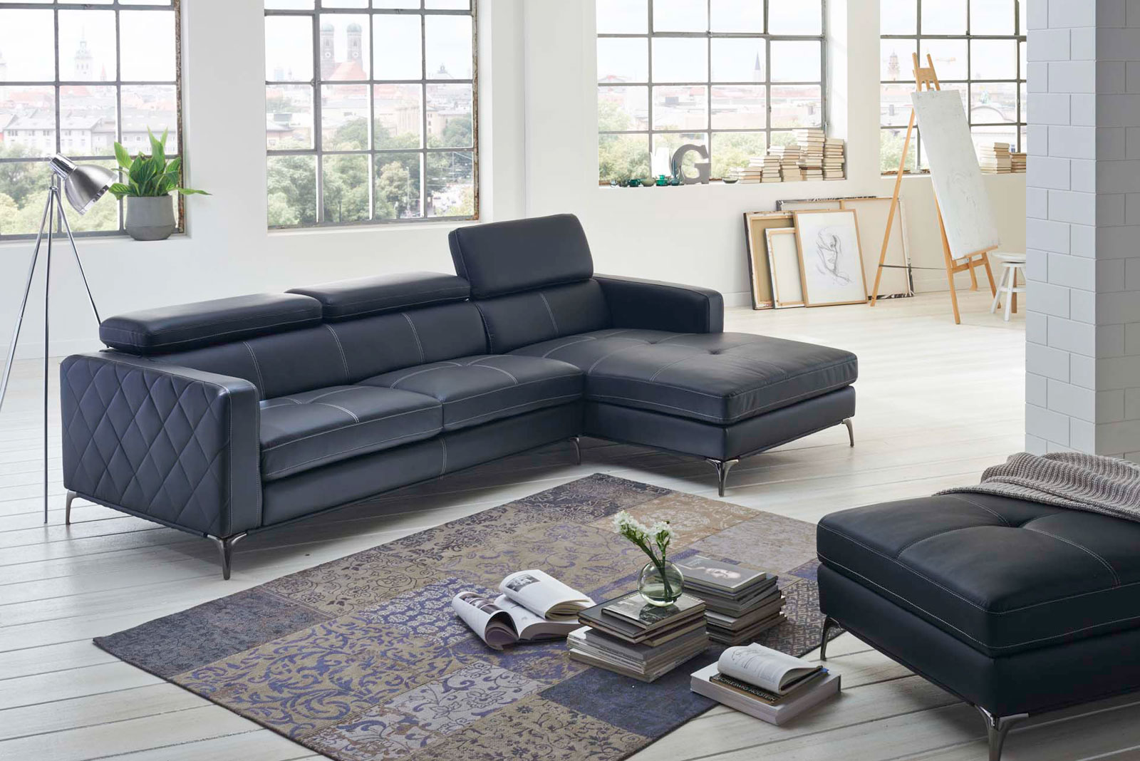 sale sofa ecksofa anthrazit ottomane rechts 300 x 132 cm dario. Black Bedroom Furniture Sets. Home Design Ideas