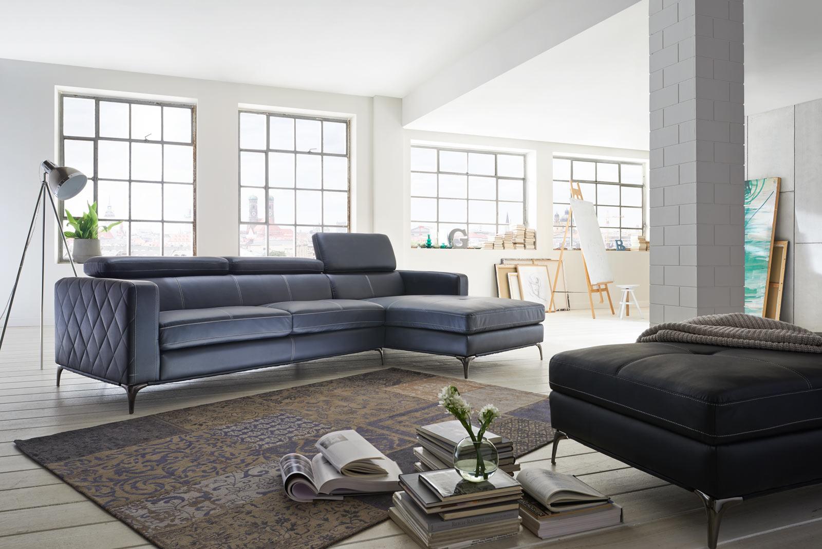 Sale sofa ecksofa anthrazit ottomane rechts 300 x 132 cm dario for Ecksofa 300 cm