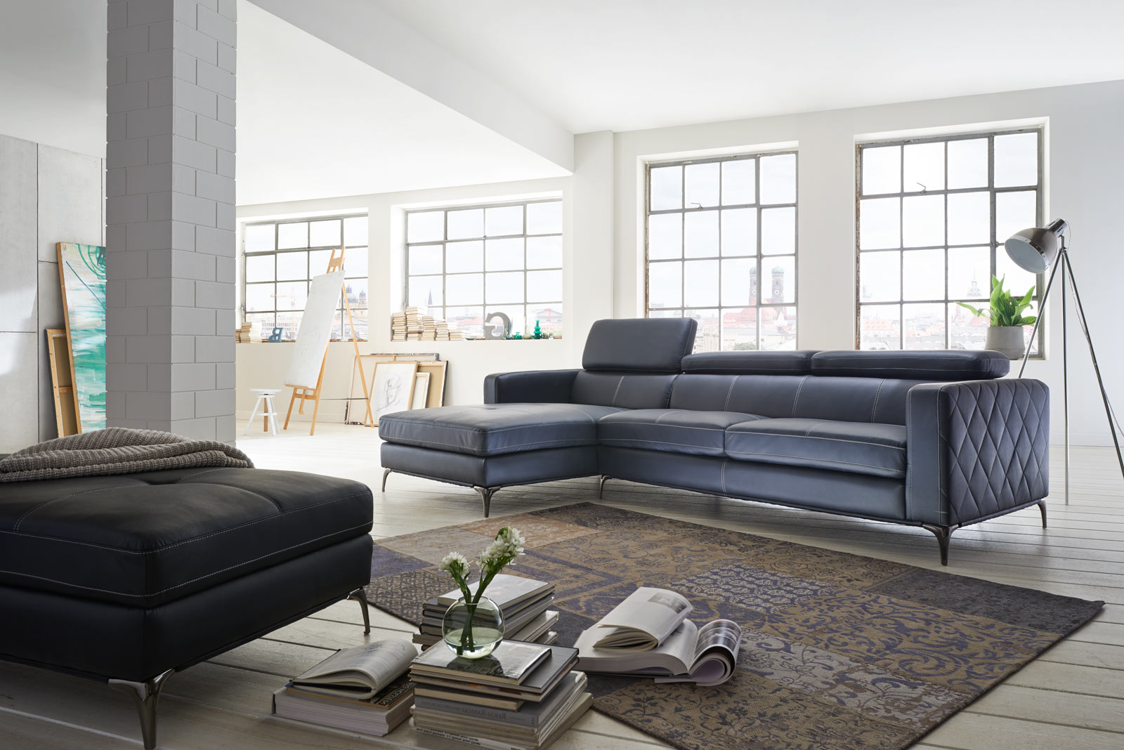 SALE Sofa Couch Ecksofa anthrazit Ottomane links 300 x 132 cm Dario