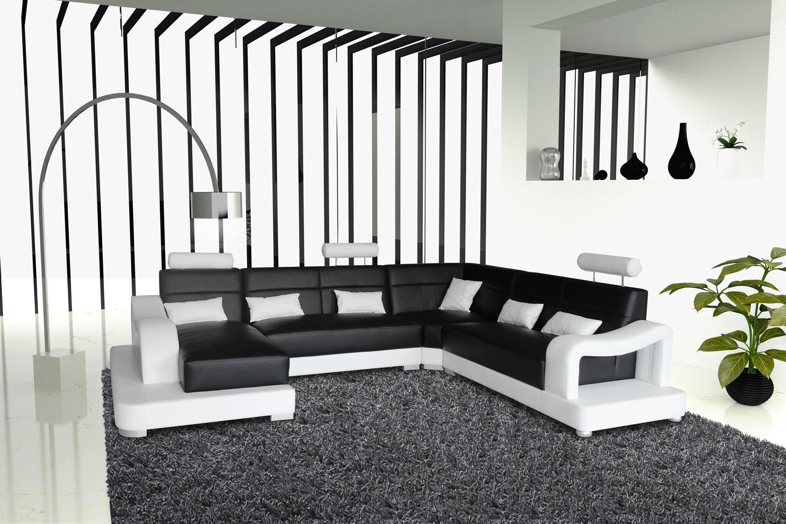 Sale Sofa Wohnlandschaft 181 X 392 X 243 Cm Schwarz Weiss Ariola