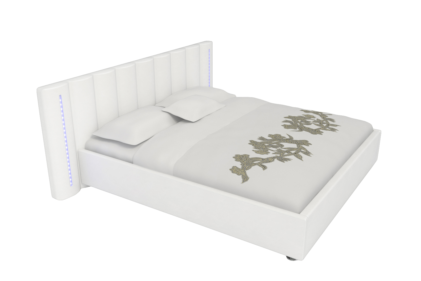 sale polsterbett g nstig 180x200 cm wei mit led beleuchtung reno. Black Bedroom Furniture Sets. Home Design Ideas