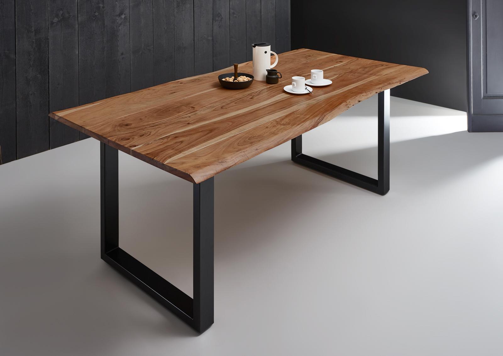 sam baumkantentisch esszimmer tisch 200 cm massiv akazie. Black Bedroom Furniture Sets. Home Design Ideas