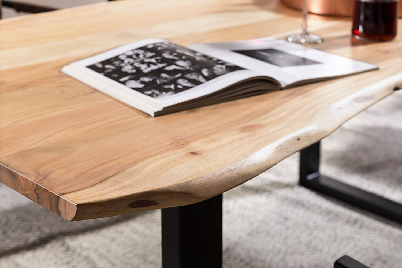 sam essgruppe baumkante akazie 160 180 200 schwarz 7tlg. Black Bedroom Furniture Sets. Home Design Ideas