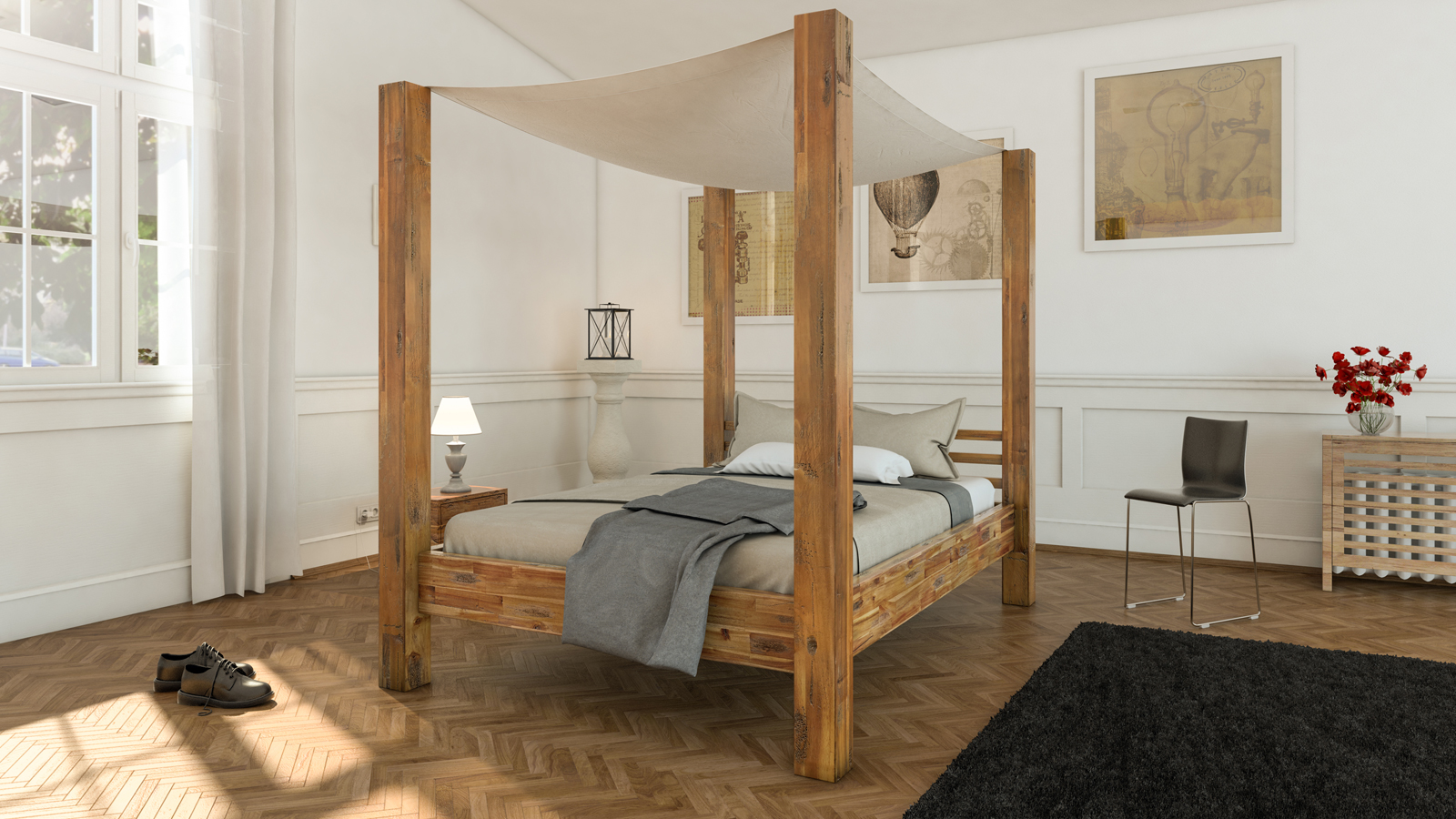 sale himmelbett 140x200 cm massivholzbett inkl himmel akazie bella. Black Bedroom Furniture Sets. Home Design Ideas